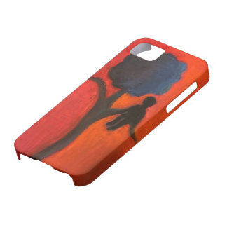 Capa de telefone da silhueta da árvore e da pessoa