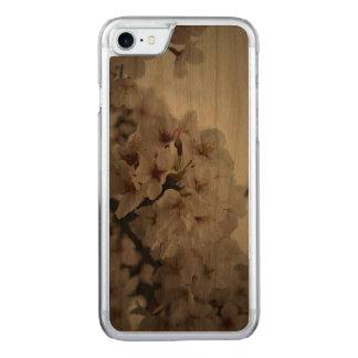 Capa de telefone de madeira da flor de cerejeira