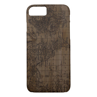 Capa de telefone de madeira do mapa do mundo do