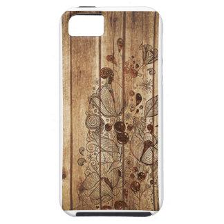 Capa de telefone de madeira floral do impressão capa tough para iPhone 5