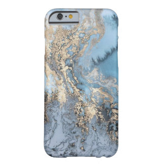 Capa de telefone de mármore do azul e do ouro