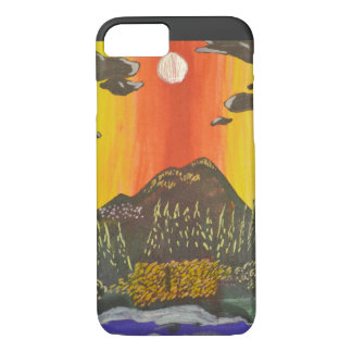 Capa de telefone do Doodle do céu da montanha