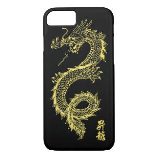 capa de telefone do dragão do ouro do iPhone 7