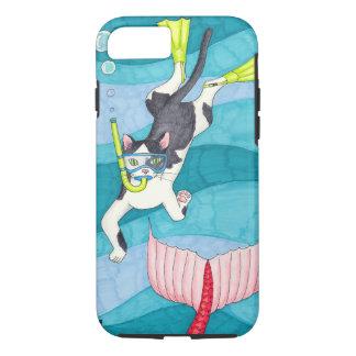 Capa de telefone do gatinho do mergulhador