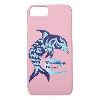 Capa de telefone do golfinho das ondas de quebra