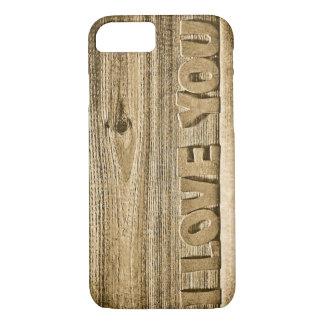 Capa de telefone do impressão da madeira eu te amo