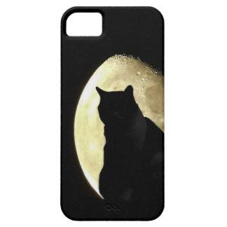 Capa de telefone do iphone da lua do gato preto