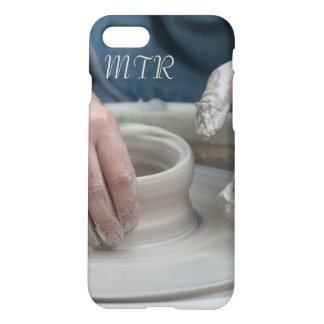 Capa de telefone do monograma da roda da cerâmica
