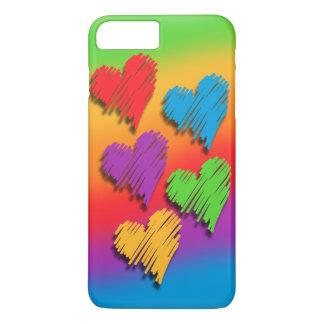 Capa de telefone dos corações do arco-íris