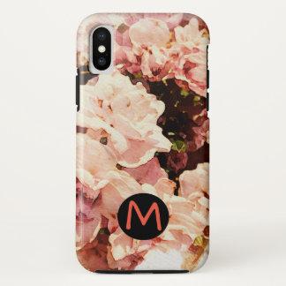 Capa de telefone floral cor-de-rosa com letra
