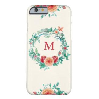 Capa de telefone floral da grinalda do monograma