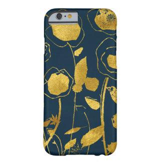 Capa de telefone floral do marinho e do ouro