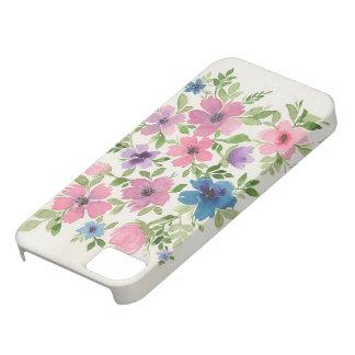 Capa de telefone floral roxa e azul do jardim