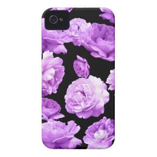 Capa de telefone magro do iPhone 4 florais roxos
