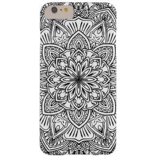 Capa de telefone preto e branco da arte da mandala
