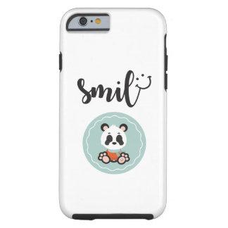 Capa de telefone resistente da panda do sorriso