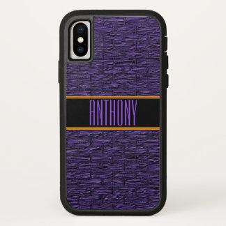 Capa de telefone roxa do monograma dos tijolos da
