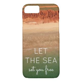 Capa de telefone temático da praia com fundo do