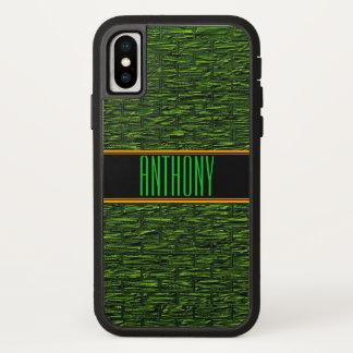 Capa de telefone verde do monograma dos tijolos