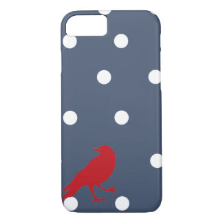 Capa de telefone vermelha do pássaro das bolinhas