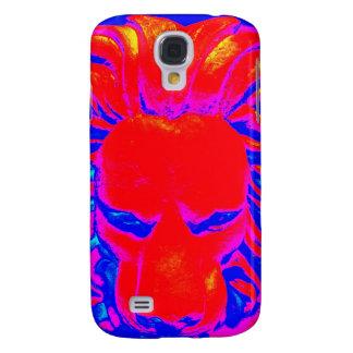 Capa de telefone vermelha e azul do leão da selva
