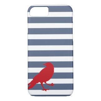 Capa de telefone vermelha listrada do azul marinho