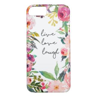 Capa de telefone viva da flor da aguarela do riso