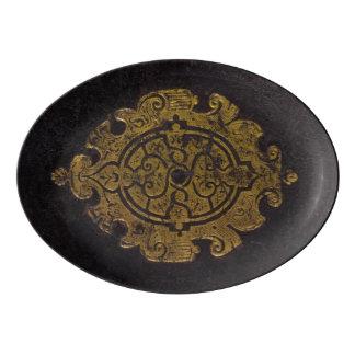 Capa do livro de couro travessa de porcelana