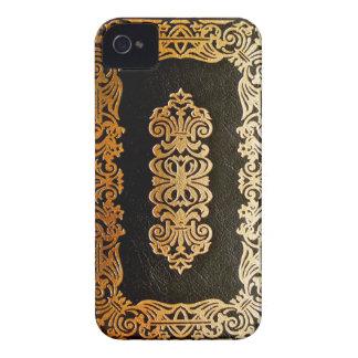 Capa do livro de couro velha do preto & do ouro capas para iPhone 4 Case-Mate
