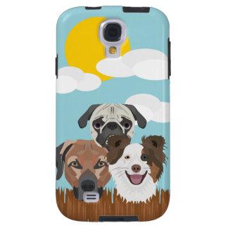 Capa Galaxy S4 Cães afortunados da ilustração em uma cerca de