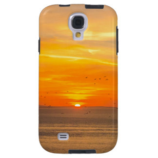 Capa Galaxy S4 Costa do por do sol com Sun alaranjado e pássaros