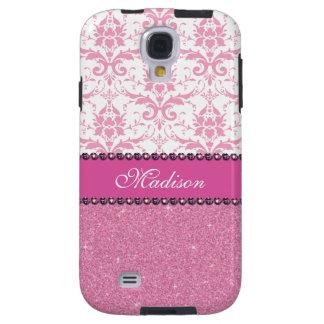 Capa Galaxy S4 Damasco cor-de-rosa e branco feminino, nome