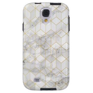 Capa Galaxy S4 Mármore branco com teste padrão do cubo do ouro