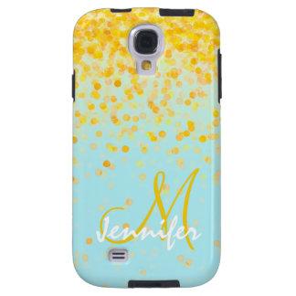Capa Galaxy S4 Nome amarelo dourado feminino do ombre de turquesa