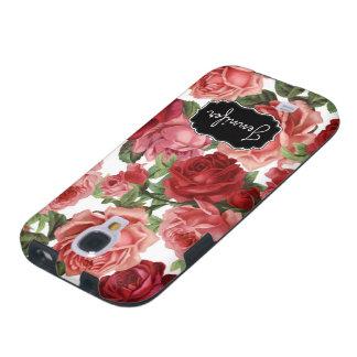 Capa Galaxy S4 Nome floral dos rosas rosas vermelha elegantes