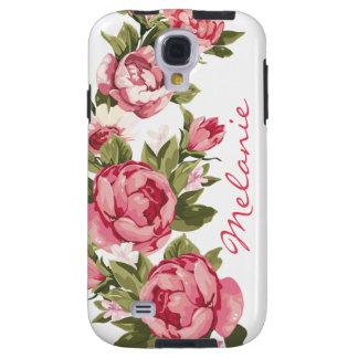 Capa Galaxy S4 O vintage personalizado cora peônias cor-de-rosa