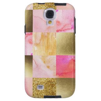 Capa Galaxy S4 ouro, pastels, cores de água, quadrados, colagem,