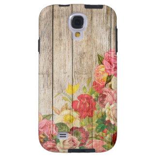 Capa Galaxy S4 Rosas românticos rústicos do vintage de madeira