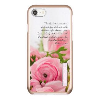 Capa Incipio DualPro Shine Para iPhone 8/7 Buquê do rosa Pastel do verso da bíblia das flores