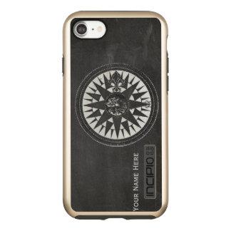 Capa Incipio DualPro Shine Para iPhone 8/7 Compasso náutico no quadro preto