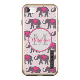 Capa Incipio DualPro Shine Para iPhone 8/7 Elefantes cor-de-rosa quentes cinzentos em