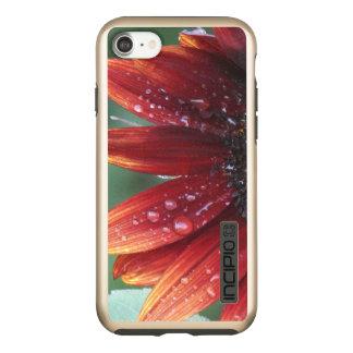 Capa Incipio DualPro Shine Para iPhone 8/7 Gotas vermelhas das pétalas e da chuva do girassol