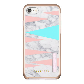 Capa Incipio DualPro Shine Para iPhone 8/7 hortelã cor-de-rosa dos triângulos geométricos de