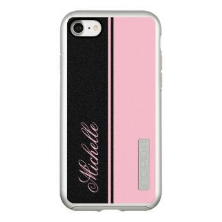 Capa Incipio DualPro Shine Para iPhone 8/7 Monograma cor-de-rosa e preto da listra