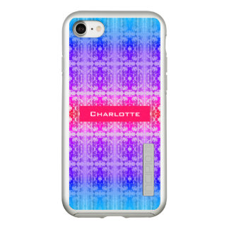 Capa Incipio DualPro Shine Para iPhone 8/7 Monograma cor-de-rosa, roxo e azul do Fractal