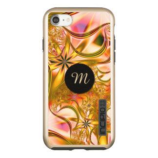 Capa Incipio DualPro Shine Para iPhone 8/7 Monograma de florescência do ouro do Fractal