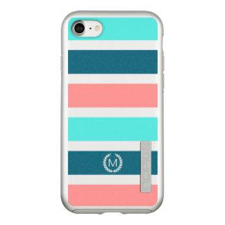 Capa Incipio DualPro Shine Para iPhone 8/7 Monograma listrado do coral, da turquesa & da