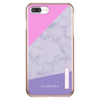 Capa Incipio DualPro Shine Para iPhone 8 Plus/7 Pl bloco roxo cor-de-rosa de mármore roxo elegante da