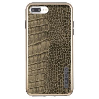 Capa Incipio DualPro Shine Para iPhone 8 Plus/7 Pl Couro clássico do réptil do crocodilo de Nile