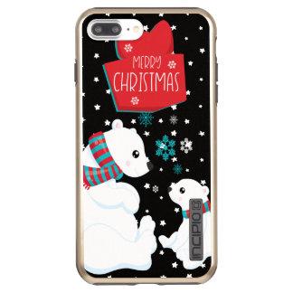 Capa Incipio DualPro Shine Para iPhone 8 Plus/7 Pl Dois Felizes Natais dos ursos polares